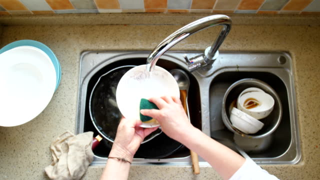 hand washing dishes - scrubbing stock videos & royalty-free footage