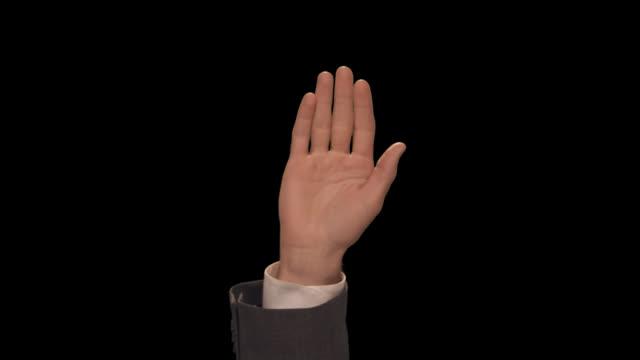 ms hand waves enthusiastically - completo da uomo video stock e b–roll