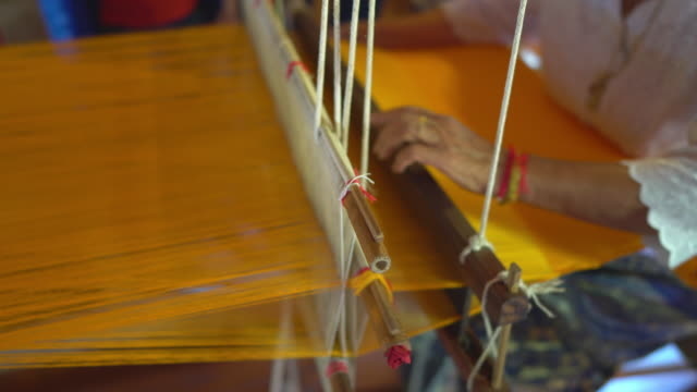 hand weaving cotton - tradition stock videos & royalty-free footage