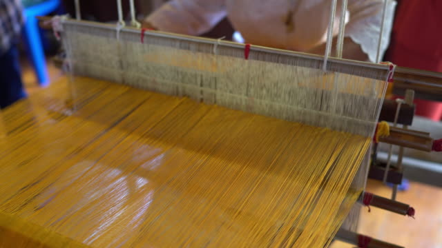 hand weaving cotton - loom stock videos & royalty-free footage