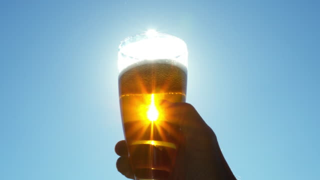 hand with a glass of beer against the sky - beer glass stock videos & royalty-free footage