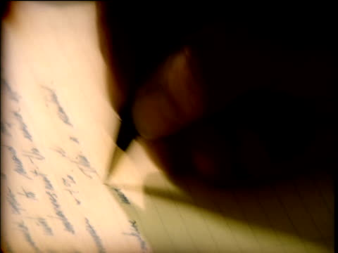 hand writing letter on lined paper - correspondence stock videos & royalty-free footage
