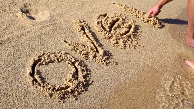 Hand writing on sand at sunny summer day. Over holiday