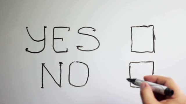 Hand writing title 'YES NO'on white board