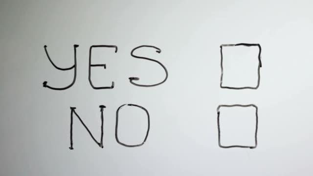 """Handschrift-Titel """"Ja Nein"""" auf weißen Tafel"""