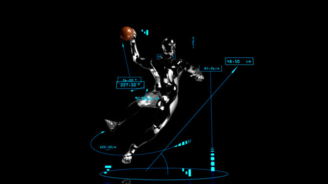 3d handball man with technical data - baseball sport stock videos & royalty-free footage