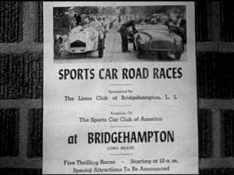 handbill poster on brick wall for sports car road racing in bridgehampton long island la ws two long lines of sports cars parked on public road... - bridgehampton stock videos & royalty-free footage