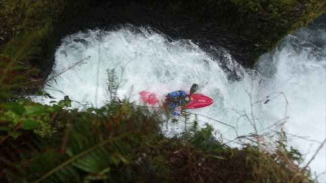 handheld high angle view of whitewater kayaker descending from waterfall - columbia river gorge stock videos & royalty-free footage