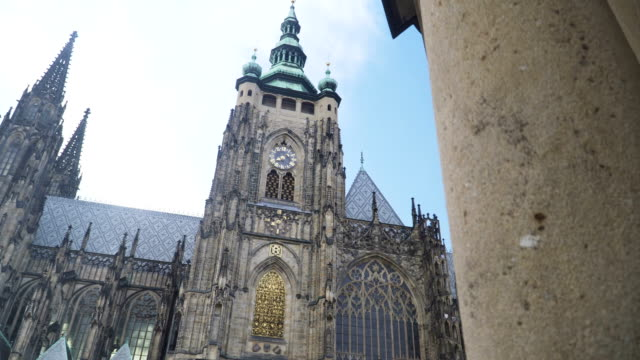 handheld low angle view: walking to see St. George's Basilica, Cathedral Church,  Prague