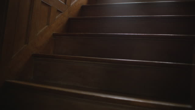 Handheld POV move up a dark and creepy wooden staircase.