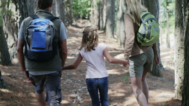 MS handheld of family walking in forest