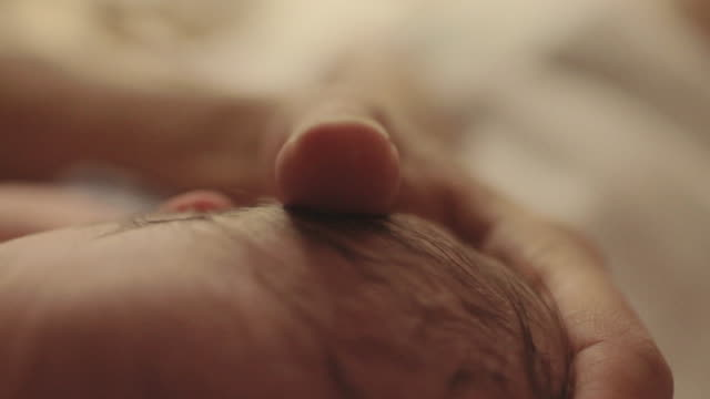 CU  handheld of   newborn baby's hands while  breast feeding