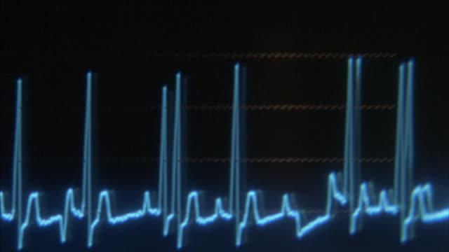 Hand-held of the digital screen of an oscilloscope.