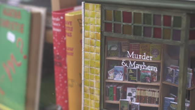 vídeos de stock e filmes b-roll de handheld sequence showing secondhand books and a model of the bookshop murder mayhem in miniature in its own window hayonwye powys wales rushes taken... - hay on wye