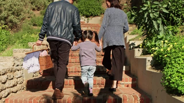 handheld shot following cute family with picnic basket - picnic basket stock videos and b-roll footage