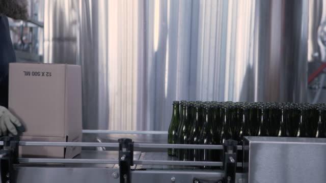Handheld shot of brewer emptying beer bottles from cardboard box on conveyor belt at brewery