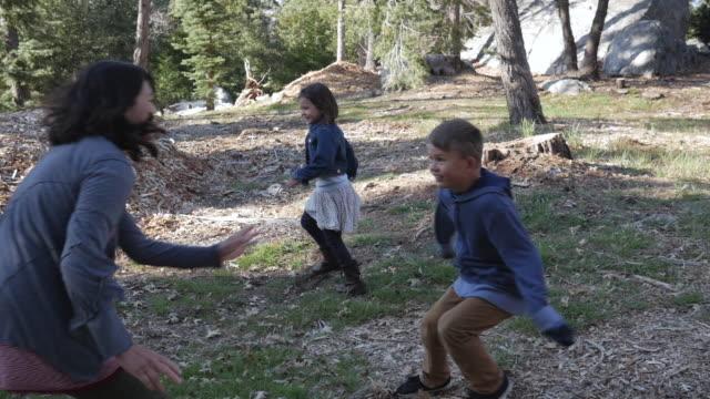vídeos de stock, filmes e b-roll de handheld shot of family playing tag in forest - brincadeira de pegar