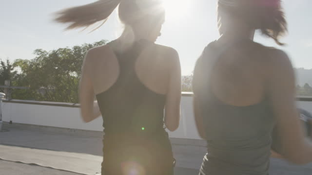 Handheld shot of female athletes passing medicine ball while exercising on building terrace
