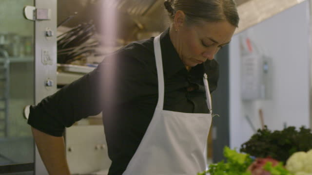 handheld shot of female chef wearing apron while standing by kitchen counter at restaurant - apron stock videos & royalty-free footage