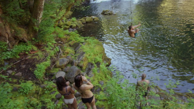 Handheld shot of friends looking at man swinging while jumping in river