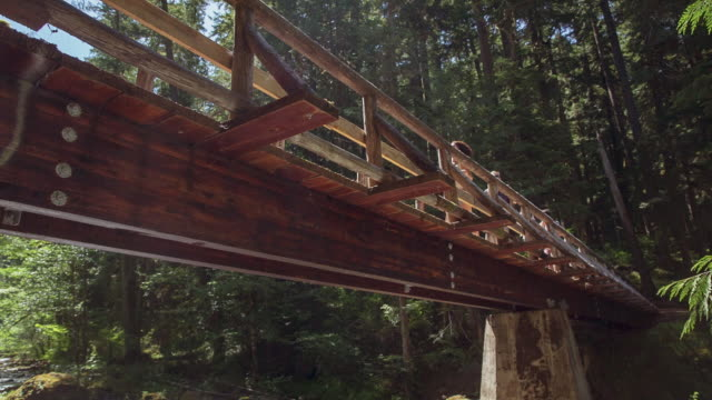 Handheld shot of friends running on footbridge at mount hood national forest