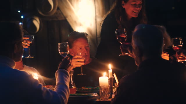 handheld shot of friends talking while toasting wineglasses at illuminated dining table during harvest dinner party at backyard - dinner party stock videos & royalty-free footage