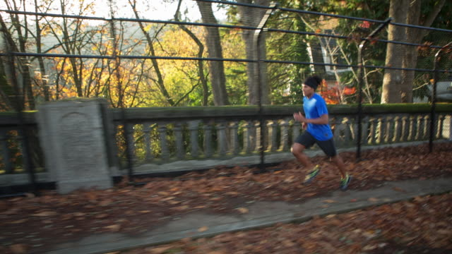handheld shot of male athlete running on footbridge at park during autumn - portland oregon fall stock videos & royalty-free footage