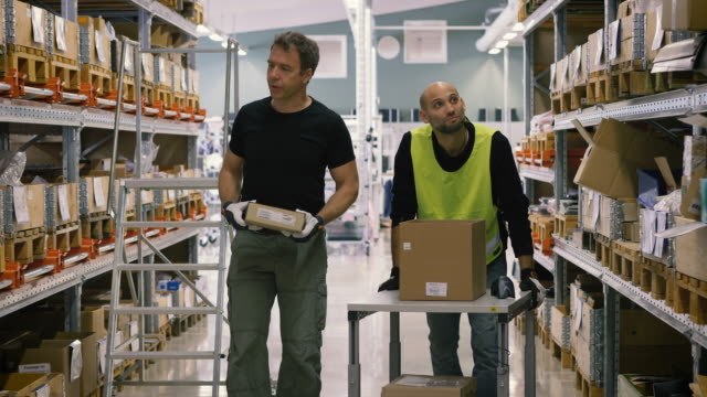 Handheld shot of male workers with boxes discussing and examining while walking in warehouse
