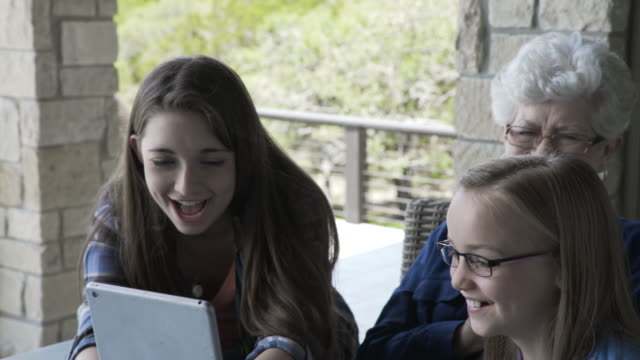 Handheld shot of playful grandmother and granddaughters laughing while using tablet computer on porch