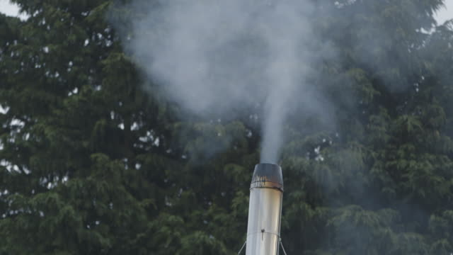 handheld shot of steam rising from a small steel chimney against trees, uk. - gas stock videos & royalty-free footage