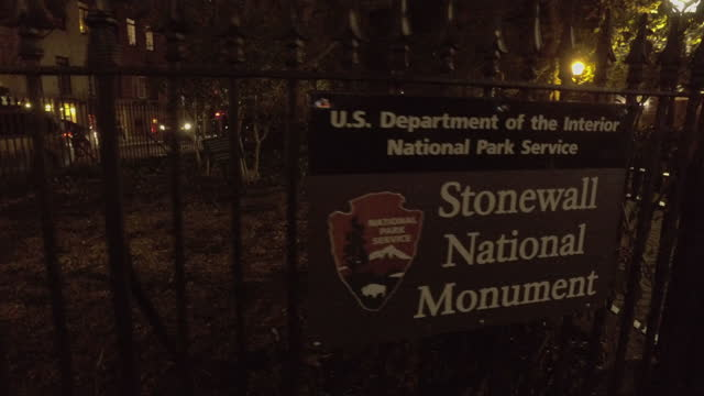 handheld shot of the stonewall national monument plaque in greenwich village - 1969 stock videos & royalty-free footage