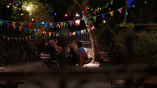 handheld shot of young multi-ethnic friends applauding for young woman during dinner party in back yard at night - 20 29 years stock videos & royalty-free footage