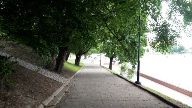 handheld view: walking down in public park, Wroclaw, Poland