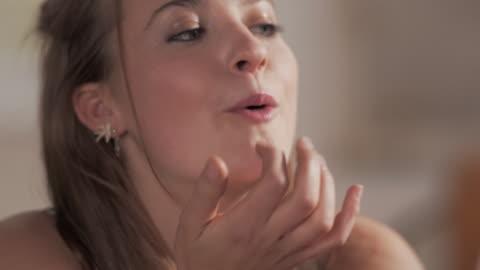 cu handheld woman eating chocolate - indulgence stock videos & royalty-free footage