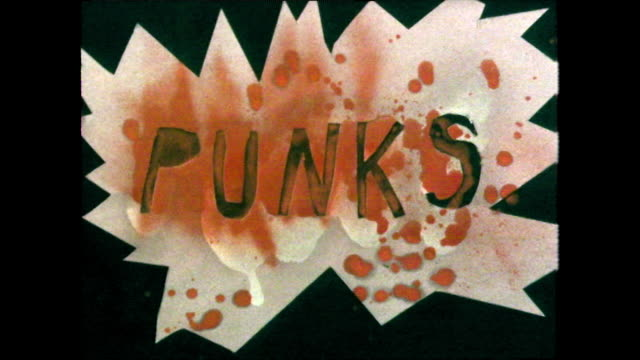 "handmade ""punks"" title with punk teens looking cool; 1980 - capital letter stock videos & royalty-free footage"