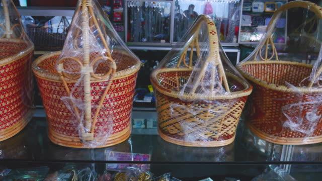 handmade rattan basket. - basket stock videos & royalty-free footage