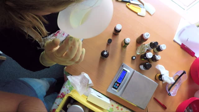 handmade soap making workshop in a studio - bar of soap stock videos & royalty-free footage