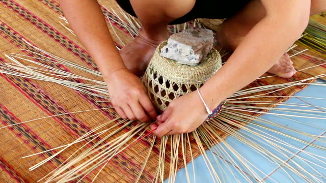 handmade straw hat - straw hat stock videos & royalty-free footage