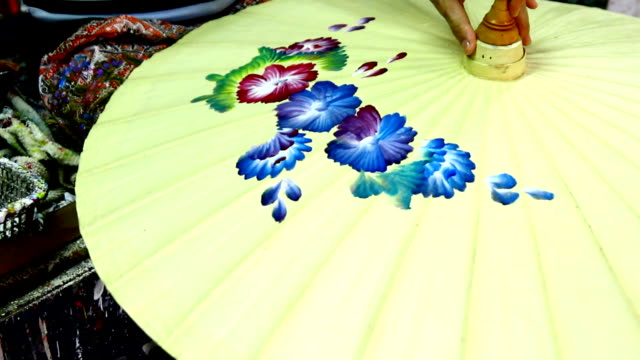 handmade thai style umbrella painting - drawing artistic product stock videos & royalty-free footage