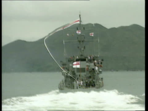 stockvideo's en b-roll-footage met victoria harbour royal navy warships patrolling harbour naval officers in bridge of warship lt cmmdr simon ancona intvwd leaving with a heavy heart... - britse leger