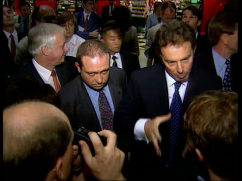 handover events tony blair mp shaking people in crowd with patten cherie blair in b/g tony blair mp speaks to press we're showing we have a... - cherie charles stock videos & royalty-free footage