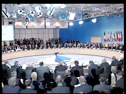 NATO conference/Iraqi sovereignty questioned POOL TURKEY Istanbul NATO summit in session US President George W Bush sitting next US Secretary of...