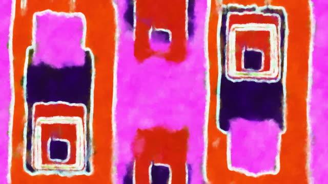 handpainted 抽象的なピンク、紫、オレンジ色の背景 - 長方形点の映像素材/bロール