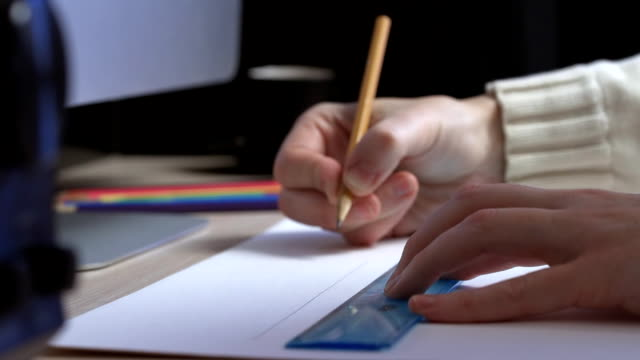 hands drawing a scheme - pencil drawing stock videos & royalty-free footage