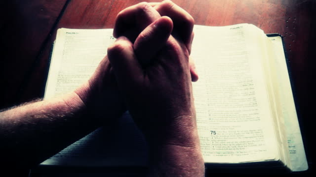 hands folding on bible - bible stock videos & royalty-free footage