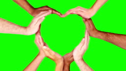 Hands forming a heart. Green Screen. Loopable f111/f338. Valentine's Day.