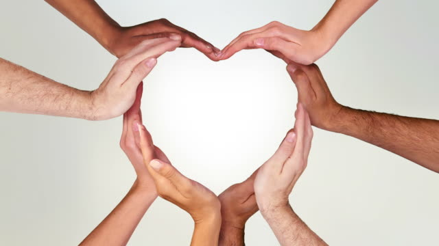 hands forming a heart. luma matte. loopable f111/f338. valentine's day. - group of people stock videos & royalty-free footage