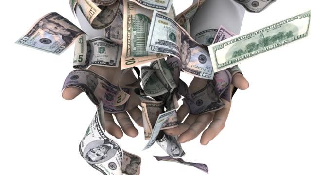 mani afferrando in cubi american denaro. - banconota da 10 dollari statunitensi video stock e b–roll
