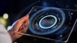 hands holding tablet pc with virtual projections