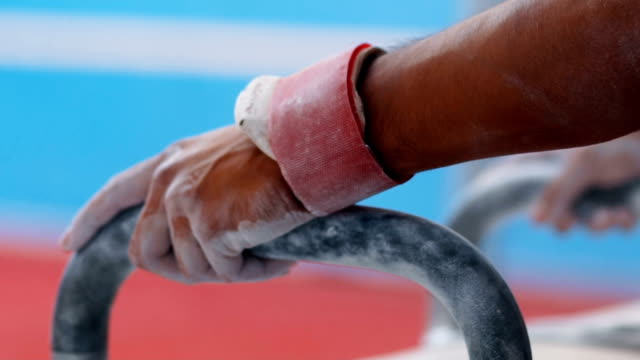 hands holding the pommels - gymnastic rings stock videos & royalty-free footage